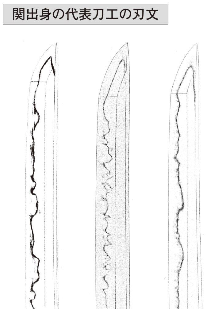 関出身の代表刀工の刃文